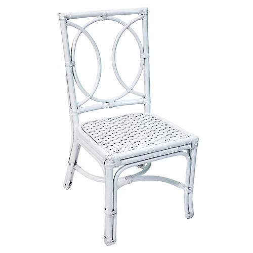 Lauren Rattan Side Chair, White