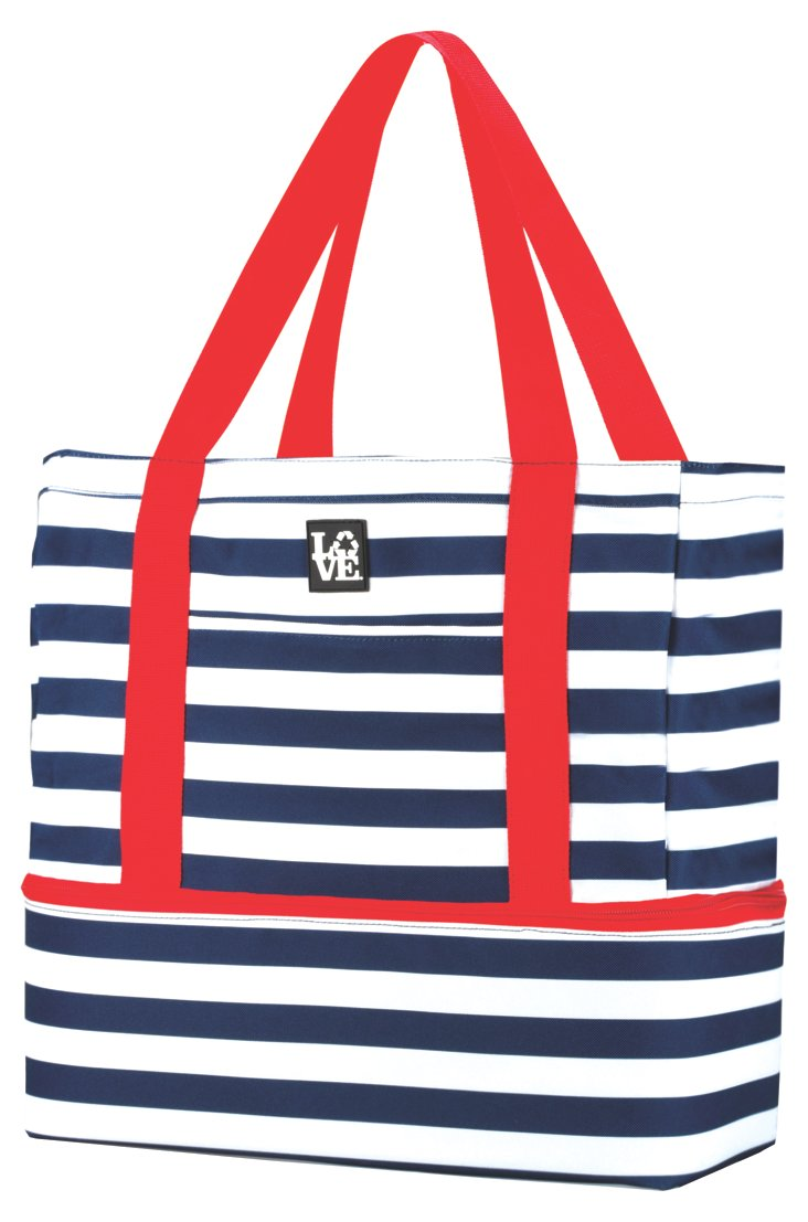 Nautical Stripe Beach Tote, Navy/Red