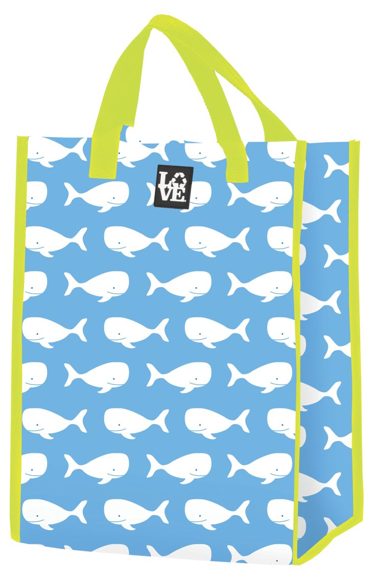 S/2 Whale Talk Market Totes, Blue/Lime
