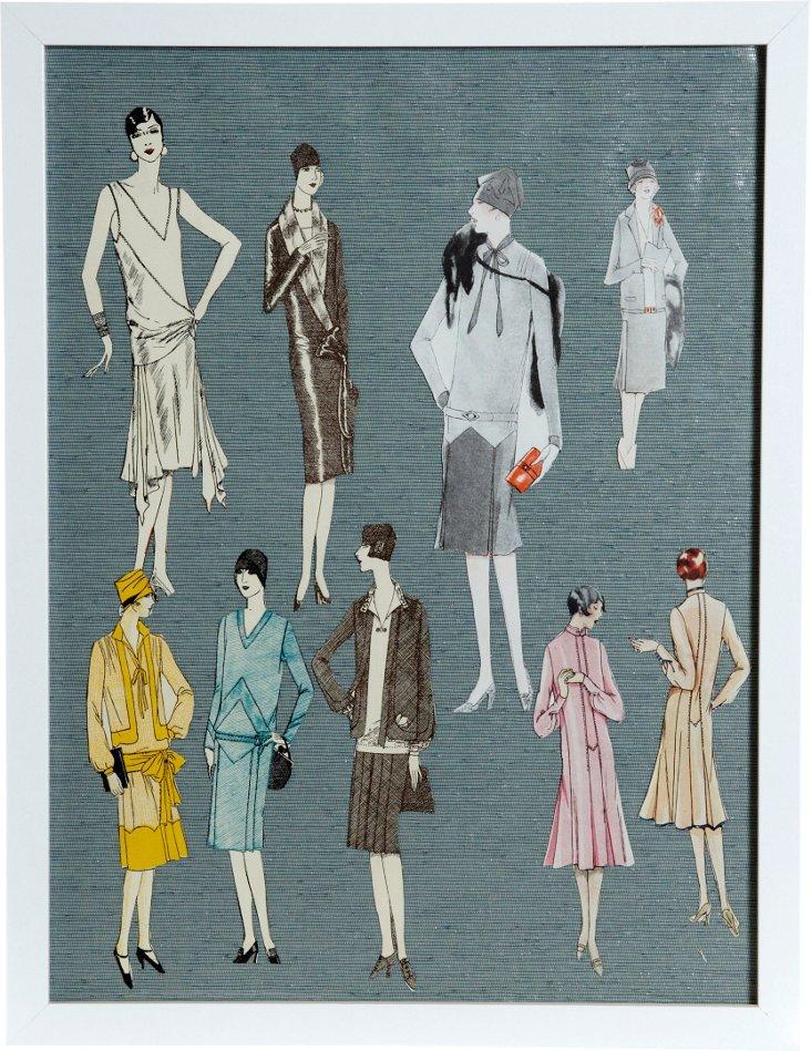 Framed Art Deco Fashion Models