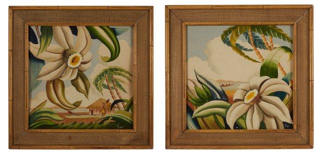 Tropical Island Paintings, Pair