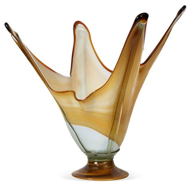 Atomic Age Art Glass Handkerchief Vase