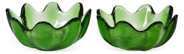 Green Glass Serving Bowls, Pair
