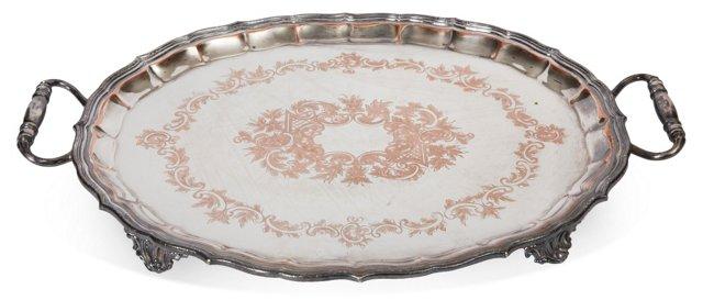 Antique Silverplate & Copper Tray