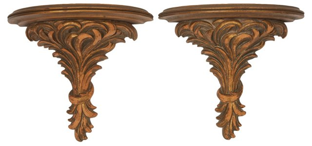 Wood Composition Wall Brackets, Pair