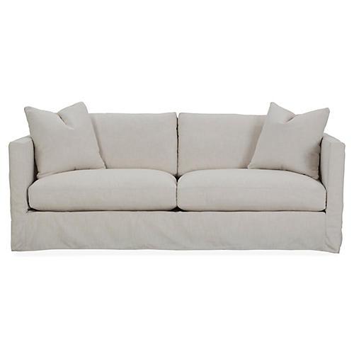 Shaw Slipcover Sofa, Ivory Crypton