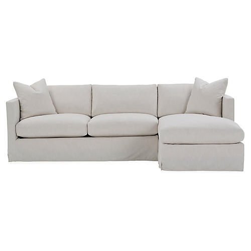 Shaw Right-Facing Sectional, Ivory Crypton