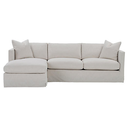 Shaw Left-Facing Sectional, Ivory Crypton