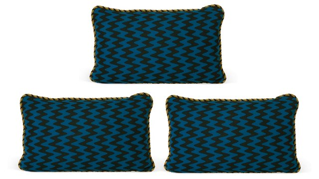 Royal Blue & Black Pillows, Set of 3