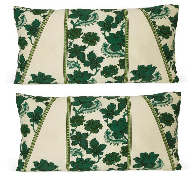 Vintage Floral Cotton Pillows, Pair