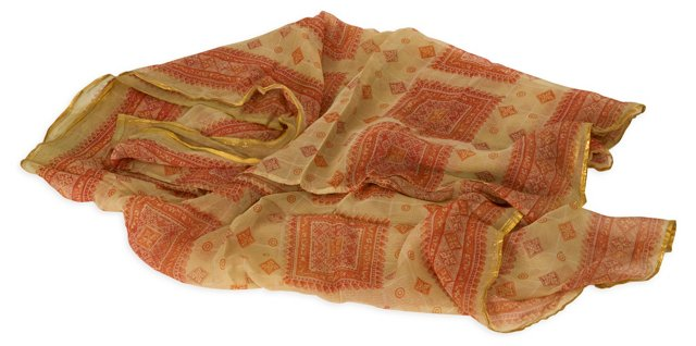 Vintage Orange Silk Sari
