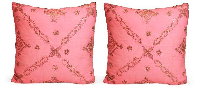 Vintage Sari Pillows, Set of 2