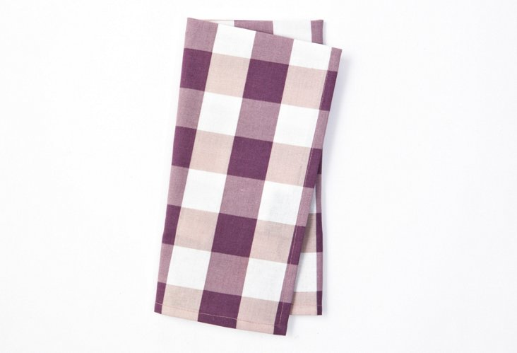 S/4 Large-Check Napkins, Lavender
