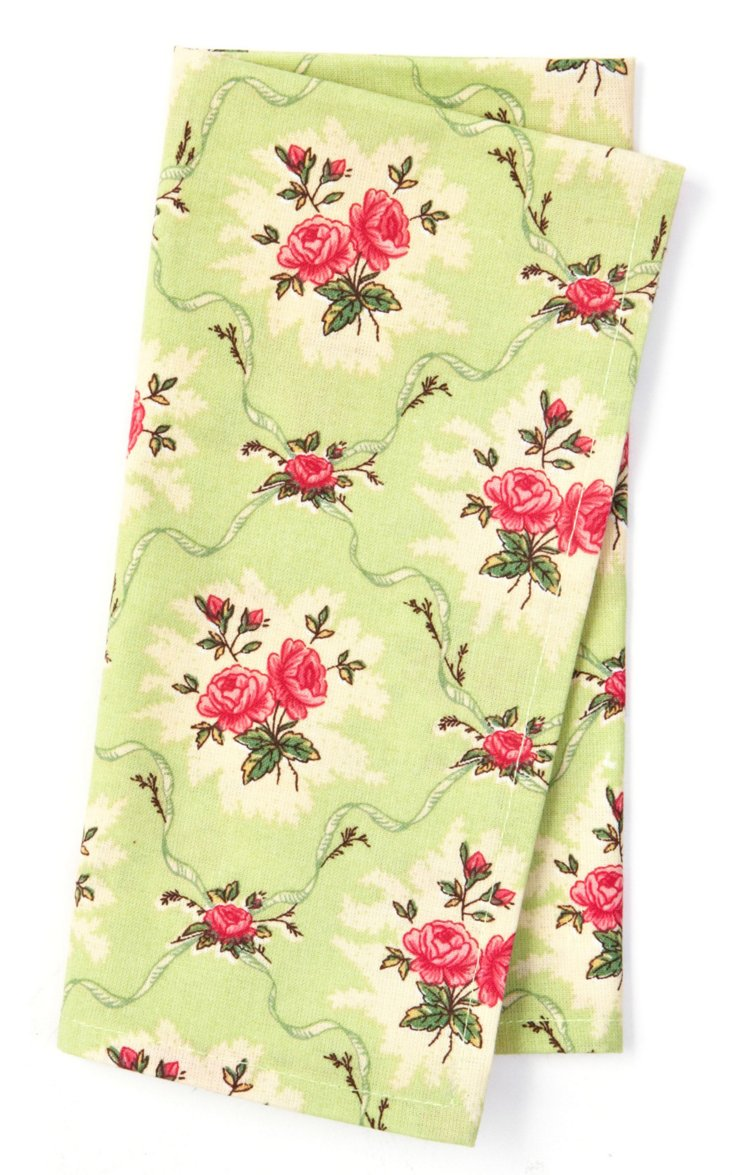 S/4 Mini Fleur Mint Napkins, Green