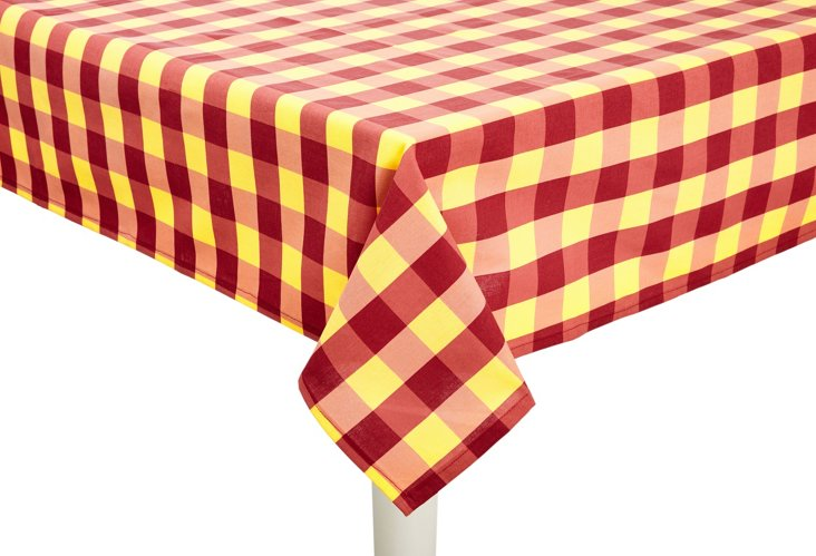 Scènes de Peche Check Tablecloth, Red
