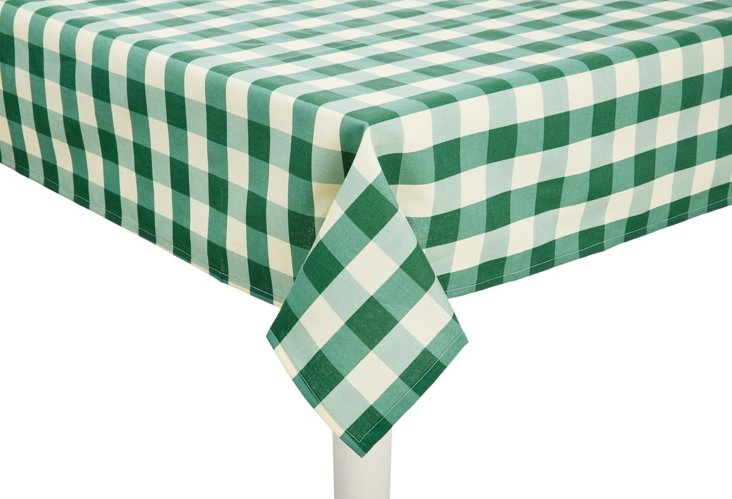 Square Gingham Tablecloth, Green/White