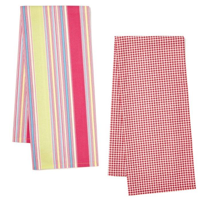 S/2 Dish Towels, Cybele/Mini Check