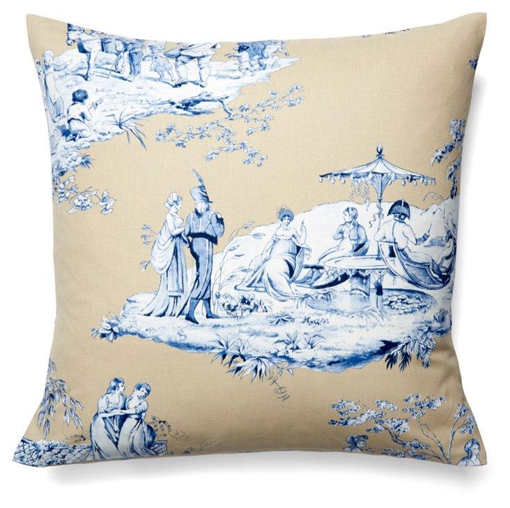 Josephine 19x19 Cotton Pillow, Blue