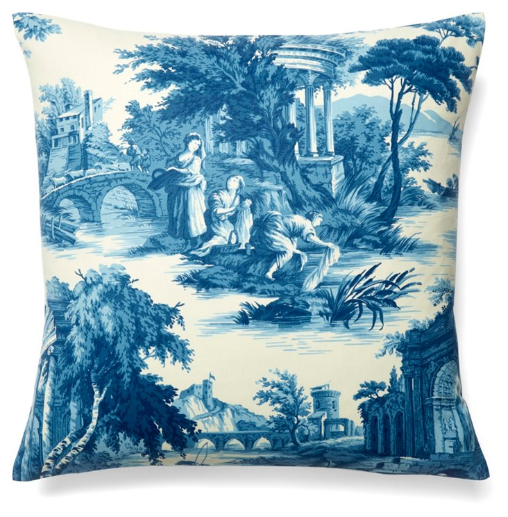 Scenes 19x19 Cotton Pillow, Blue