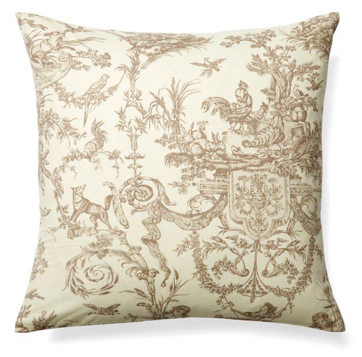 Versailles 19x19 Cotton Pillow, Beige