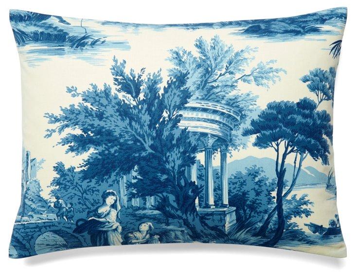 Scenes 12x16 Cotton Pillow, Blue