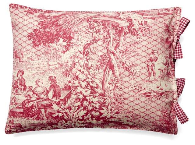 Toile 12x16 Cotton Pillow, Rose
