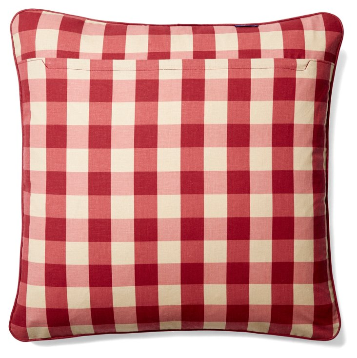 Scene 19x19 Cotton Pillow, Red