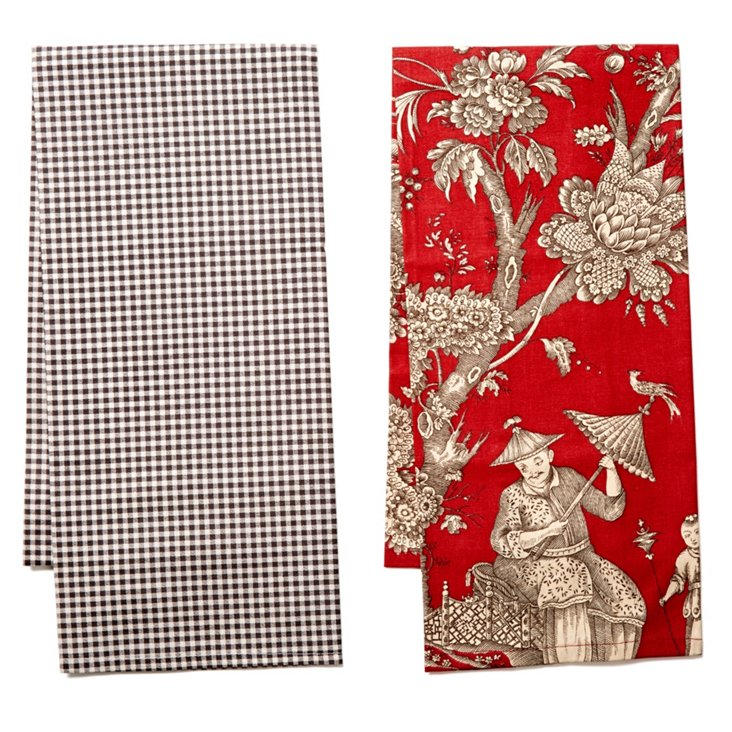 S/2 Dish Towels, Red/Charcoal