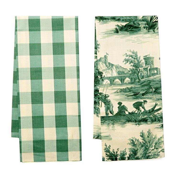 S/2 Ass. Tea Towels, Green/White
