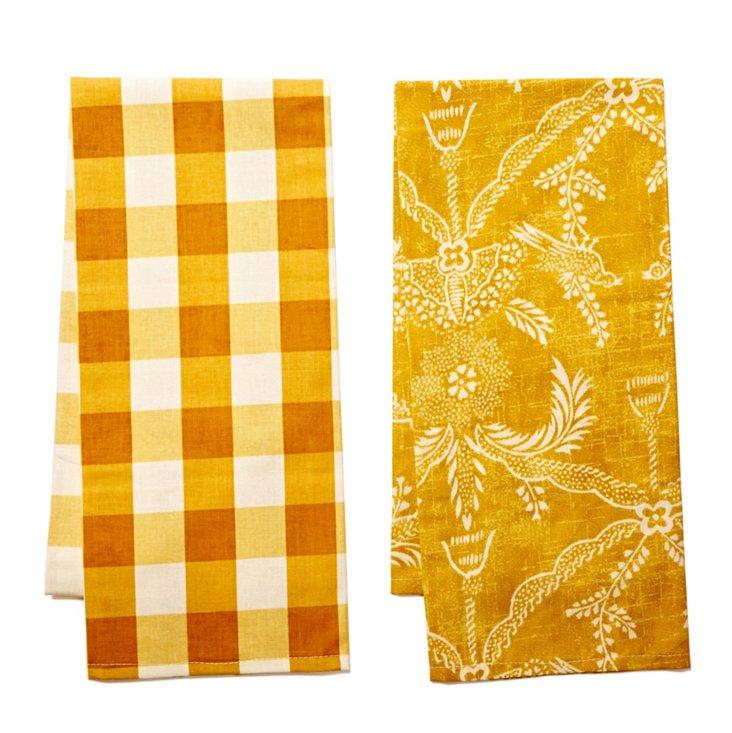 S/2 Dish Towels, Mustard