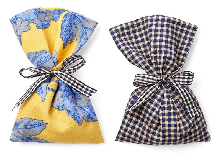 S/2 Lavender Sachets, Blue/Yellow