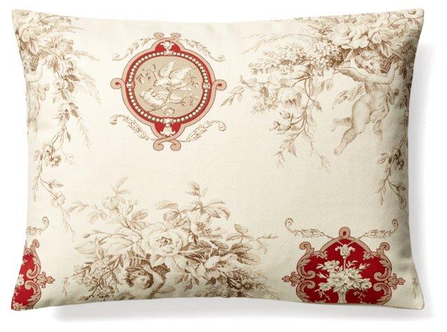 Toile 12x16 Cotton Pillow, Ivory