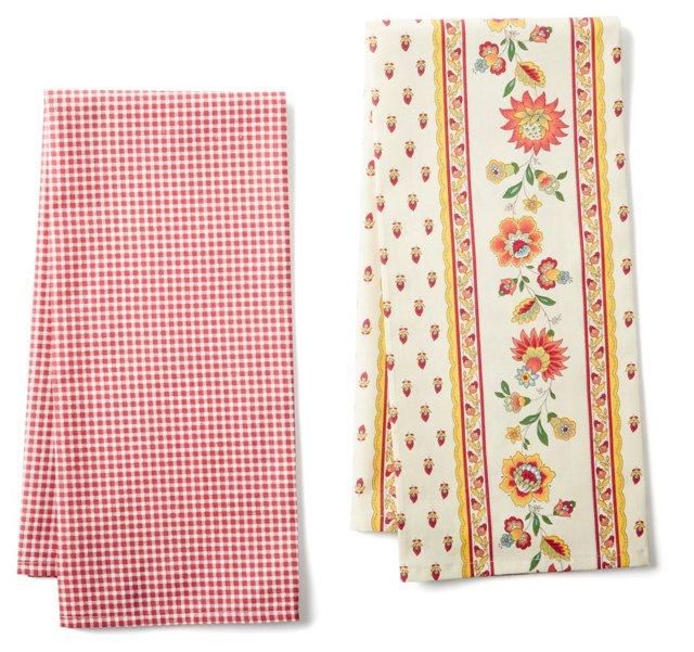 S/2 Tea Towels, Berry