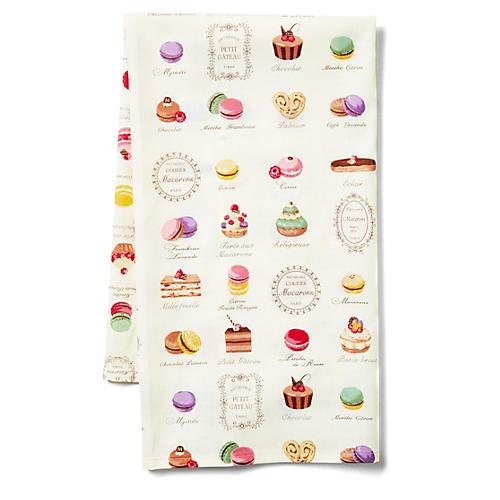 Macaron Tea Towel, Ecru/Multi