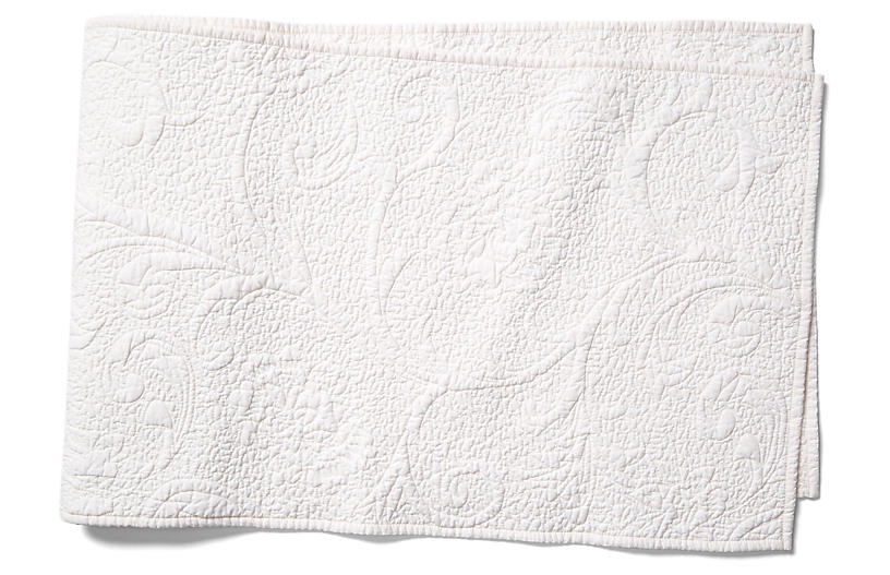 Fleur de Quilted Table Runner, Off-White