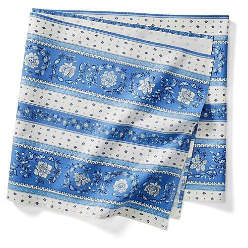 Vence Stripe Table Runner, Blue/White