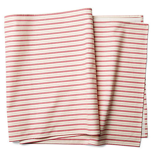 Candy Cane Stripe Table Runner, Ivory/Berry
