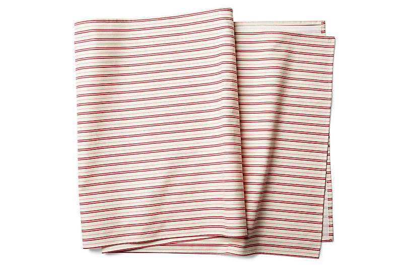 Candy Cane Stripe Table Runner - Ivory/Berry - Maison du Linge