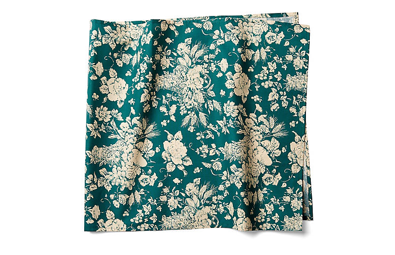 Panier Table Runner, Green/White