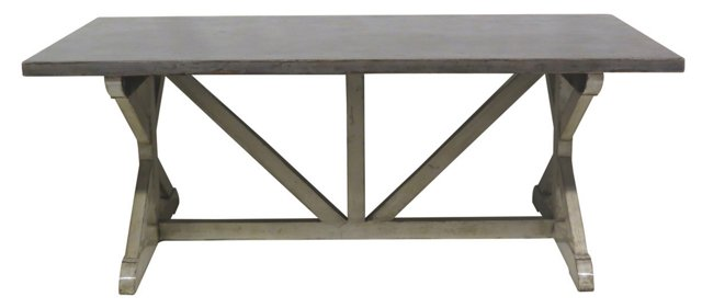 Asher Dining Table, Dove Gray/Ivory