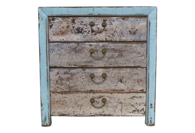 Naomi 4-Drawer Chest, Blue/Silver