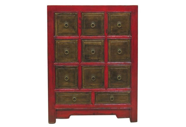 DNU,DISCCaleb 11-Drawer Chest, Red