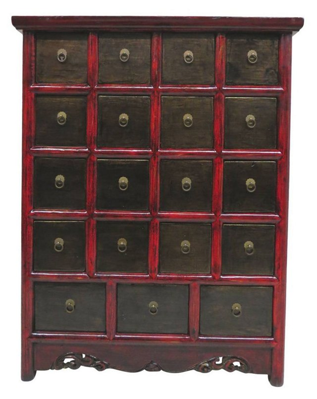 Everett 19-Drawer Chest, Red