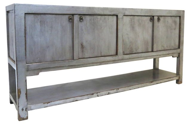 "Pierce 71"" Bottom-Shelf Sideboard, Gray"