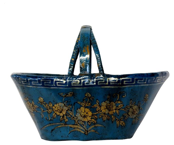 Floral Bamboo Durian Basket, Blue