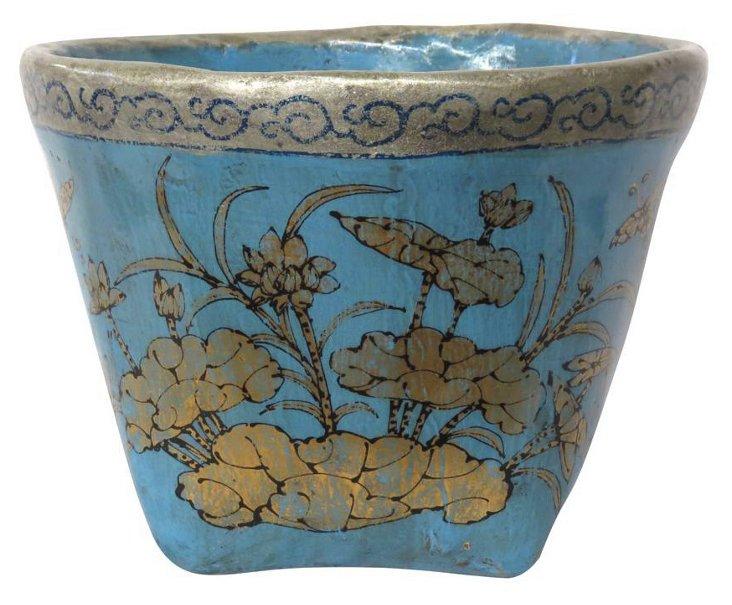 Floral Mung Bean Basket, Blue/Gold