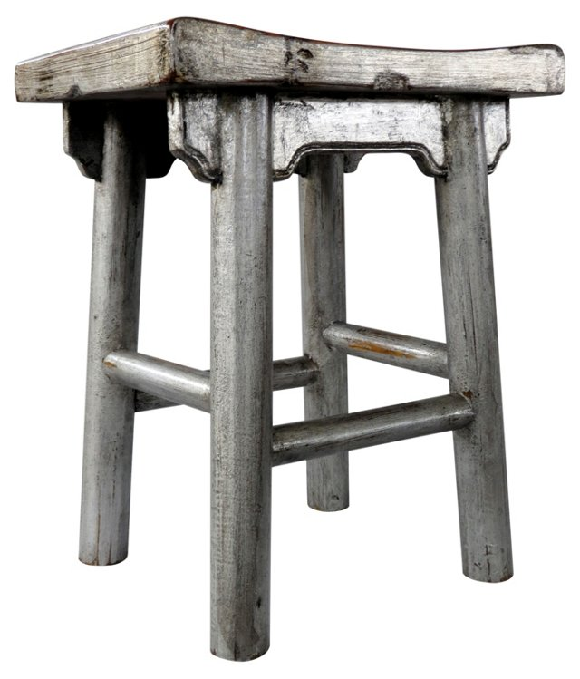 Friendship Stool, Distressed Silver