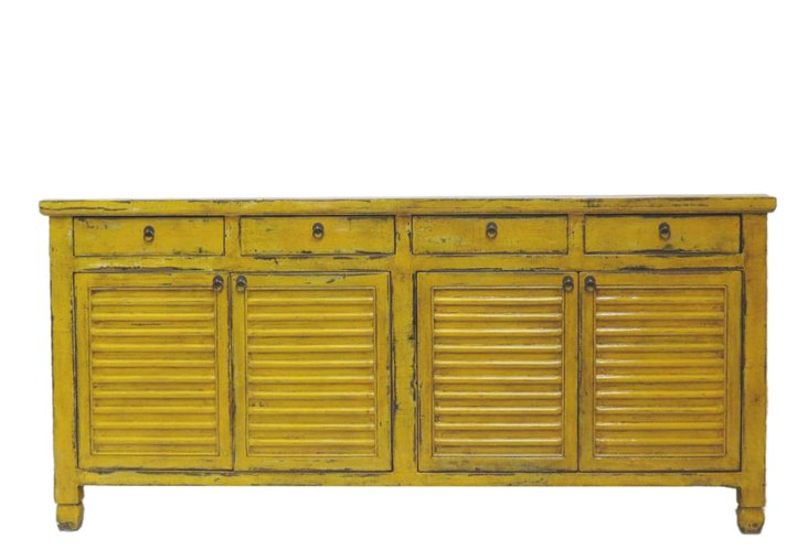 Benedict 4-Drawer Tall Sideboard, Yellow