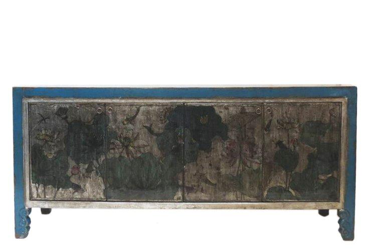 Lotus 4-Door Sideboard, Silver