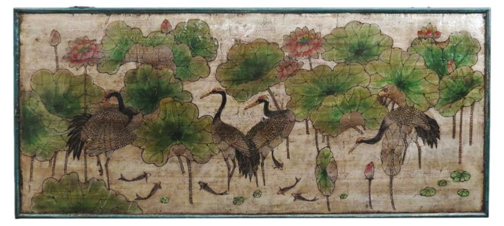 "Crane Lotus 62"" Wood Panel, Silver/Multi"